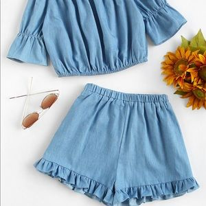 Pants - Two Piece Crop Top and Ruffle Shorts Set